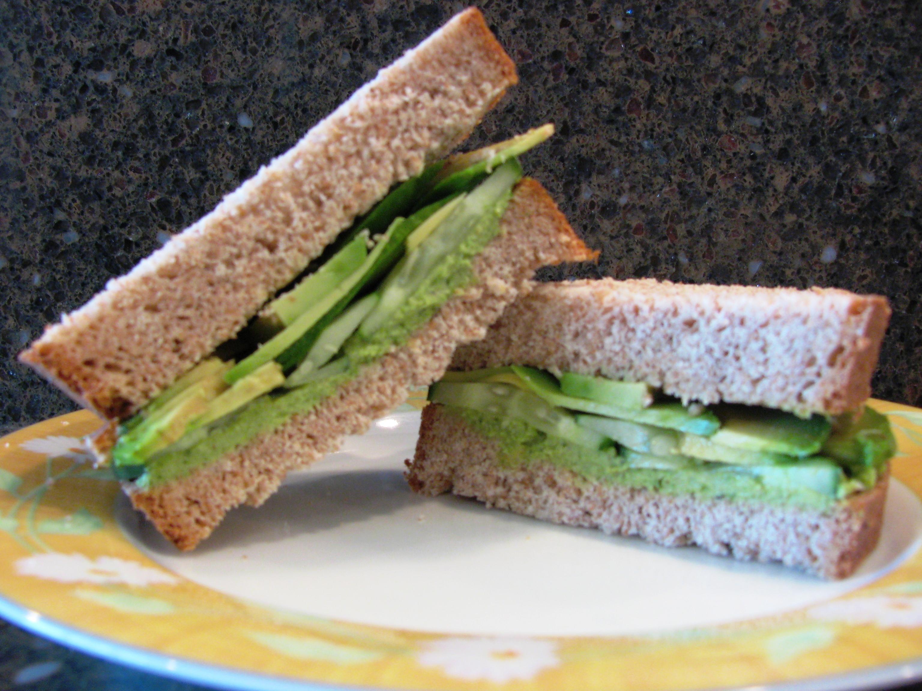 Green Hummus, Avocado, and Cucumber Sandwich   Duke's House