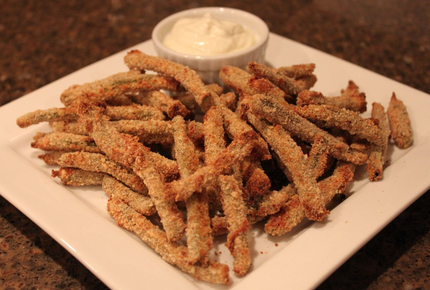 Oven Fried Green Beans with Wasabi Dipping Sauce | Duke's House